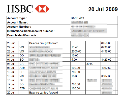 Mattsbits saving hsbc bank statements to html and csv for Free bank statement template